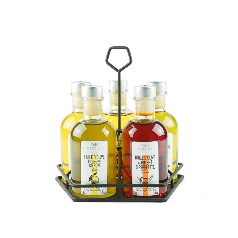 "Collection ""Terroirs d'huile"" - 5 huiles d'olive parfumées + huilier"