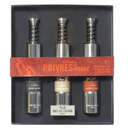 Discovery Box : 3 Pepper mills filled with 3 Peppers