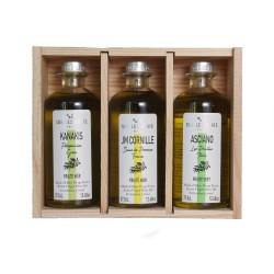 "Wooden Box ""terroirs d'Huiles"" - 3 olive oil from Méditerranée"