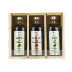 """Coffret bois """"terroirs d'Huiles"""" - 3 huiles d'olive de la Méditerranée"""