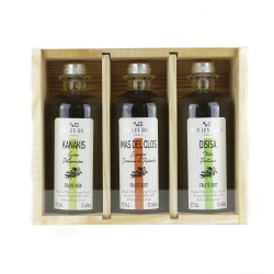 "Wooden case ""Terroir"" Olive Oils - 3 Mediterranean Extra Virgin Olive Oil"