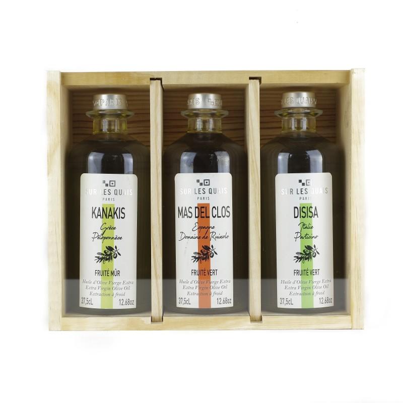 """Visuel 3 bouteilles """"terroirs d'Huiles"""" - 3 huiles d'olive de la Méditerranée"""