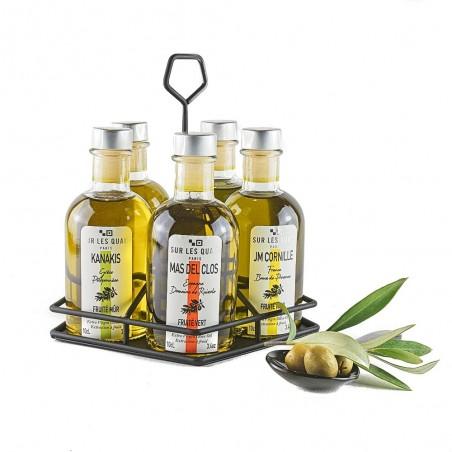 """Collection  """"Terroirs d'huile"""" - 5 huiles d'olive de Méditerranée + huilier"""